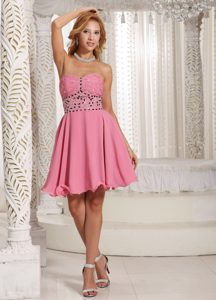 A-line Beaded Rose Pink Stylish Cocktail Party Dress to Mini-length in Summer