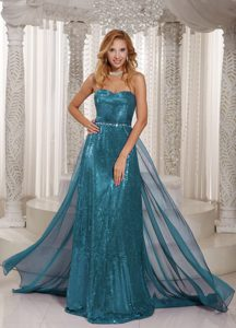 Turquoise Sweetheart Stylish Sweet 16 Party Dress with Paillette
