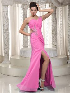 Pink Column One Shoulder Long Chiffon Party Dresses with Beading