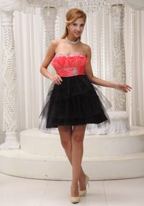 Rust Red and Black Lovely Sweetheart Party Dress with Beading on Sale