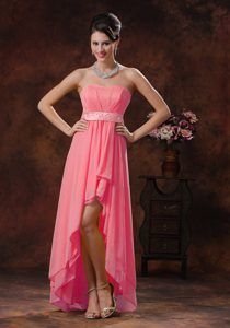 2013 New Style Watermelon High-low Quinceanera Party Dress with Belt