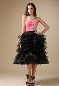 Watermelon Red and Black Quinceanera Party Dress with Beading