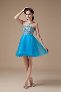 Low price Teal A-line Beaded Celebrity Party Dresses to Mini-length
