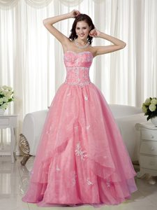 Sweet Rose Pink A-line Sweetheart Beaded Party Dress with Appliques on Sale