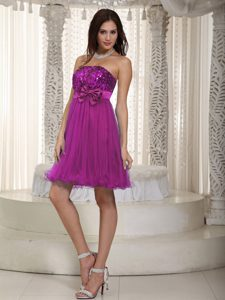 Empire Strapless Mini-length Party Dress with Sequins and Bowknot
