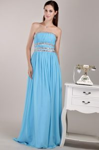Aqua Blue Empire Strapless Chiffon Beaded Party Dress with Ruching in 2014