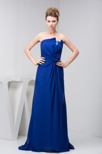 Modern Ruched Royal Blue Party Dresses with Hand Made Flowers for Cheap