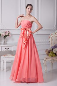 Bottom Price Strapless Ruching Casual Party Dress with Ribbon in Watermelon