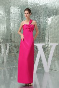 One Shoulder Ankle-length Casual Party Dress with Ruches in Hot Pink on Sale
