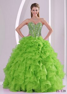 Luxurious Sweetheart Spring Green Ruffles Dresses 15 with Beads on Top