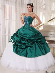 Green Appliques Sweetheart and Tulle Dresses for 15 in 2014