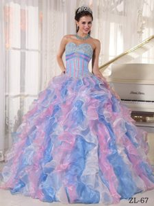 Multi-color Ruffles Layers Long Dresses for a Quinceanera