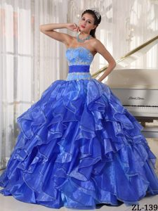 Strapless Appliques Ruffles Long Ball Gown Sweet 15 Dresses
