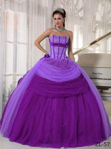 2013 Purple Strapless Long Tulle Quinceanera Gown Dresses