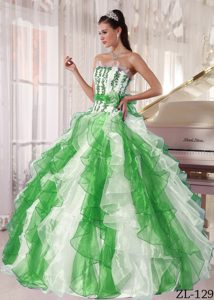 Strapless Long Ruffles Ball Gown Quinceanera Gown
