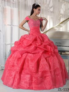 Watermelon Off The Shoulder Long Beading Quince Dresses