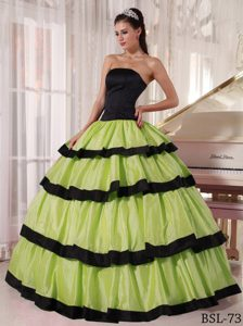Green and Black Strapless Long Quinceanera Dress in Style