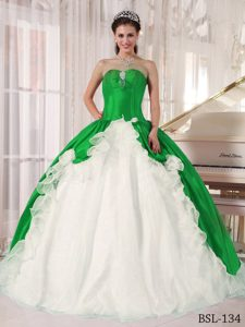 Green and White Beading Long Dress for Quinceanera
