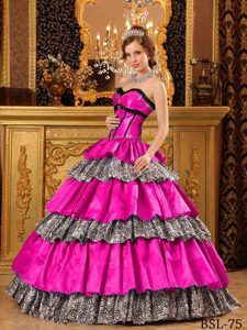 Sexy Sweetheart Hot Pink and Leopard Beaded Quinceanera Dress with Layers