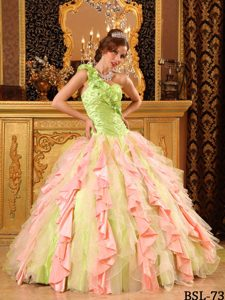 Multi-colored One Shoulder Ruched Ball Gown Quinceanera Dress with Ruffles on Sale