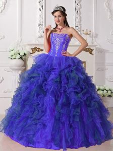 2014 Wonderful Strapless Blue Sweet 16 Dress with Appliques and Ruffles