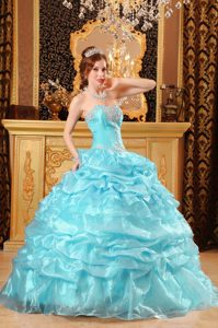 Light Blue Sweetheart Quinceanera Dress with Appliques and Layered Ruffles