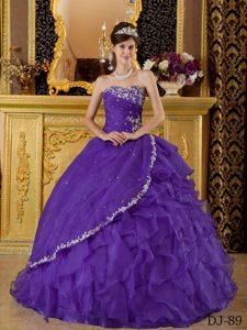 Dark Purple Strapless Quinceanera Gown Dress with Ruffles and Appliques