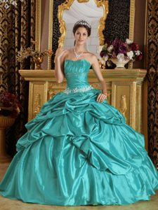 New Ruched Strapless Turquoise Sweet 16 Dress with Appliques and Pick-ups