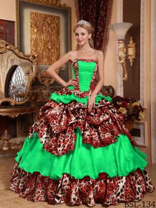 Strapless Spring Green and Leopard Quinceanera Dress with Layered Ruffles for Less