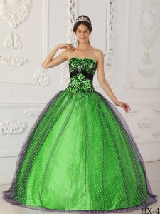 Chic Spring Green Strapless and Black Tulle Quinceanera Dress with Appliques