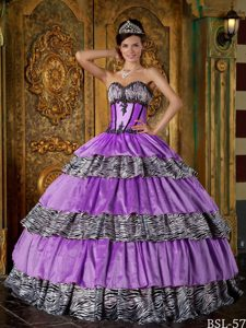 Sweetheart Purple and Zebra Layered Quinceanera Dress with Beading on Sale