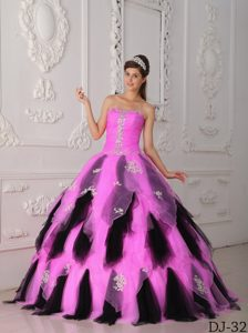 Hot Pink and Black Tulle Strapless Beaded Sweet 15 Dress with Ruffles and Appliques