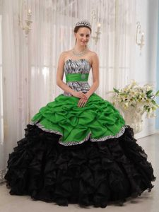 Sweetheart Green and Black Ruffled Zebra Quinceanera Gown Dresses with Pick-ups