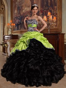Strapless Light Green and Black Ruffled Quinceanera Dress with Pick-ups and Zebra