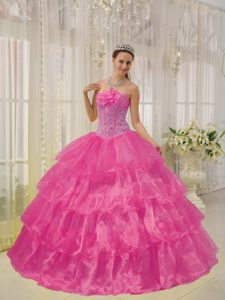 Strapless and Quinces Dresses with Beading in Hot Pink