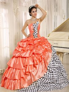 Popular Multi-color Strapless Quinceaneras Dress with Pick-ups