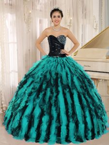 Low Price Beaded and Ruffled Sweetheart Quinceanera Gown in Multi-color