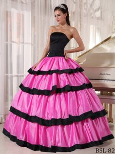 Strapless Sweet 16 Quince Dresses with Ruffled Layers in Hot Pink and Black