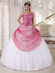 Halter-top Rose Pink and White Sweet 15 Dresses with Sequins and Ruches