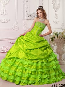 Beading Yellow Green Quinceanera Dresses with Ruffed Layers on Promotion