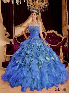 Discount Ruffled and Beaded Quinceanera Dresses with Special Fabric in Blue