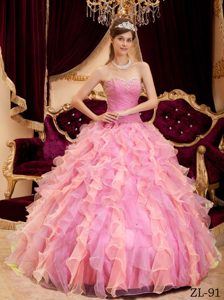 Ruching and Beading Rose Pink Dresses for Quince with Ruffles