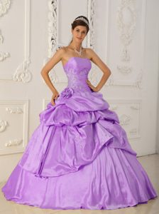 Glitz Strapless Appliqued Sweet 15 Dresses with Pick-ups in Lavender