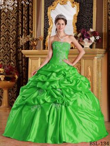 Strapless Appliqued Green Quinceanera Dress with Pick-ups