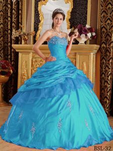Clearance Sweetheart Appliqued Quince Dresses in Aqua Blue with Pick-ups