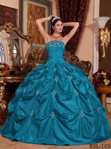 2013 Ruched and Appliqued Teal Quinceanera Gown with Pick-ups