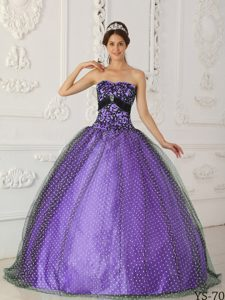 Black and Purple Strapless Quinceanera Gown with Appliques and Beadings
