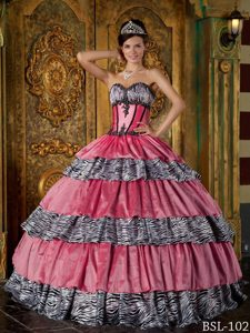 Discount Sweetheart Appliqued Quince Dress with Ruffled Layers and Zebra