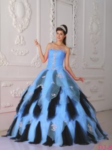 Beautiful Appliqued Quinceanera Gown with Ruffles in Aqua Blue and Black