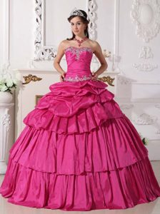 Sweetheart Beaded and Ruched Sweet 16 Dress with Ruffles and Pick-ups
